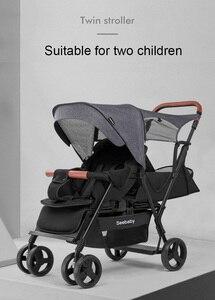Image 3 - Seebaby ikizler bebek arabası çift çocuk 4 tekerlekli bebek arabası arka koltuk ayakta kurulu ile T12 avrupa tarzı