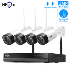 Kit CCTV audio bidirezionale per telecamera di sorveglianza Wireless Hiseeu 8CH 3MP per Set di telecamere di sicurezza per esterni 1536P 1080P 2MP WiFi