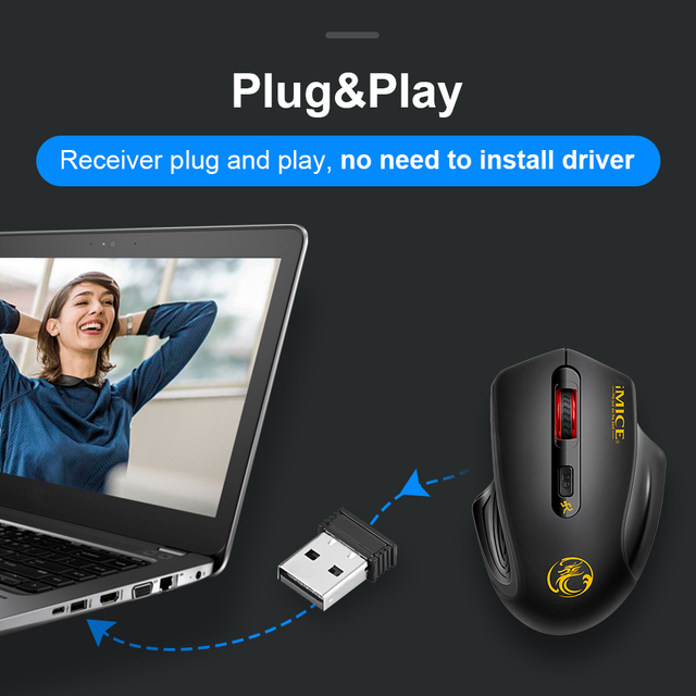 USB Wireless Mouse 2000DPI Adjustable USB 2.0 Receiver Optical Computer Mouse 2.4GHz Ergonomic Mice For Laptop PC Silent Mouse 2