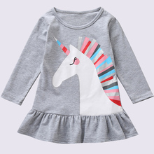 2020 New Baby Girls Unicorn Princess Dress Spring Summer Children Long Sleeve Clothes Kids Party Costume Dresses For Girls 1-5T