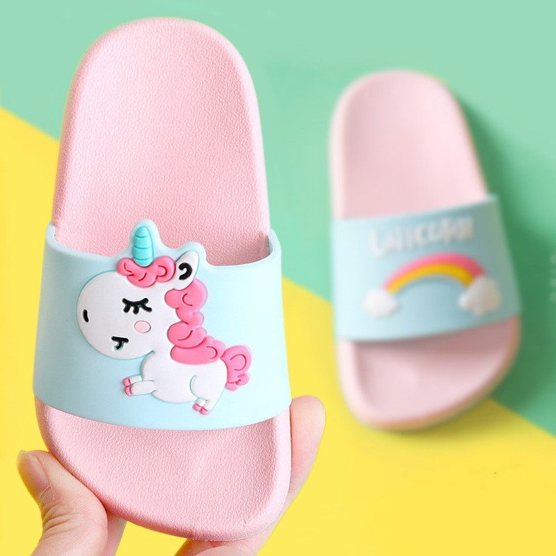 Suihyung Rainbow Unicorn Slippers For Kids New Summer Boy Girl Beach Shoes Baby Toddler Soft Indoor Bathroom Slippers Flip Flops