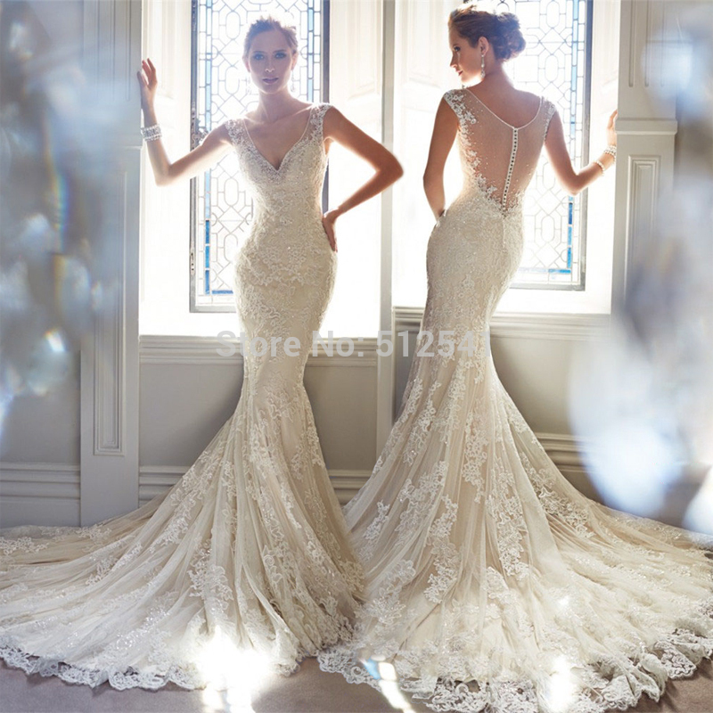 Best Selling Sheer Wedding Dresses Mermaid Trumpet Spaghetti Straps Applique Lace Beads Sequin Ruffle Bridal Gowns 2019