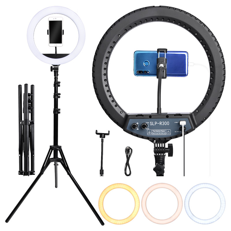 fosoto SLP-R300 300Pcs LED Ring Light Photographic Lighting Ringlight Ring Lamp With Tripod Stand For Camera Phone Makeup