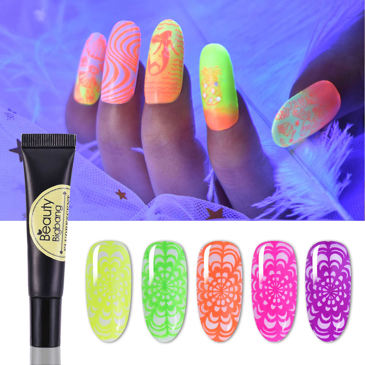 Beautybigbang 8ml Al Neon Stamping Gel Fluorescente Soak Off Colorato Vernice Glow In The Dark UV Luce Unghie artistiche Poli Gel per Piatti