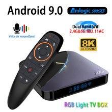 A95x f3 8 k rgb luz android 9.0 caixa de tv amlogic s905x3 4 gb 64 gb duplo wifi 4 k 60fps youtube conjunto caixa superior media player