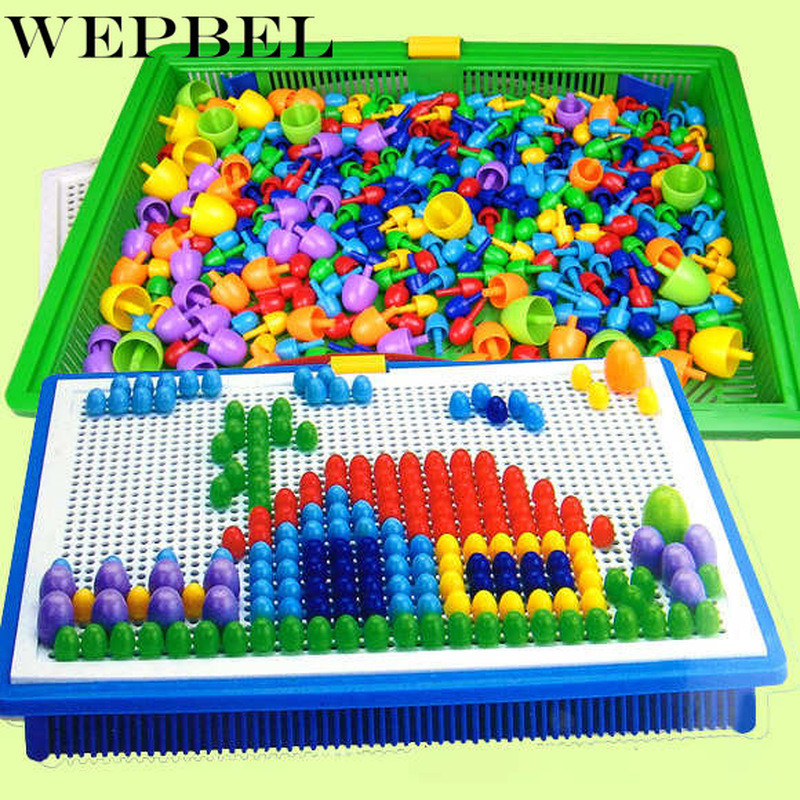 WEPBEL Children Kids Early Education Toys Creative Peg Board With 296 Pegs