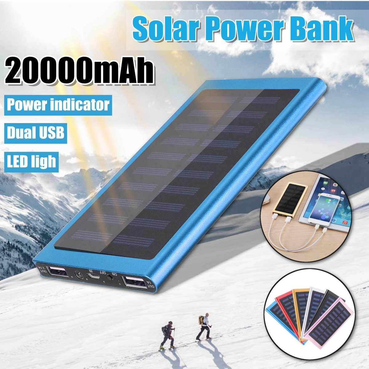 Solar 20000mah Power Bank External Battery 2 USB LED Powerbank Portable Mobile Phone Solar Charger For Xiaomi Phone 7 8 Samsung