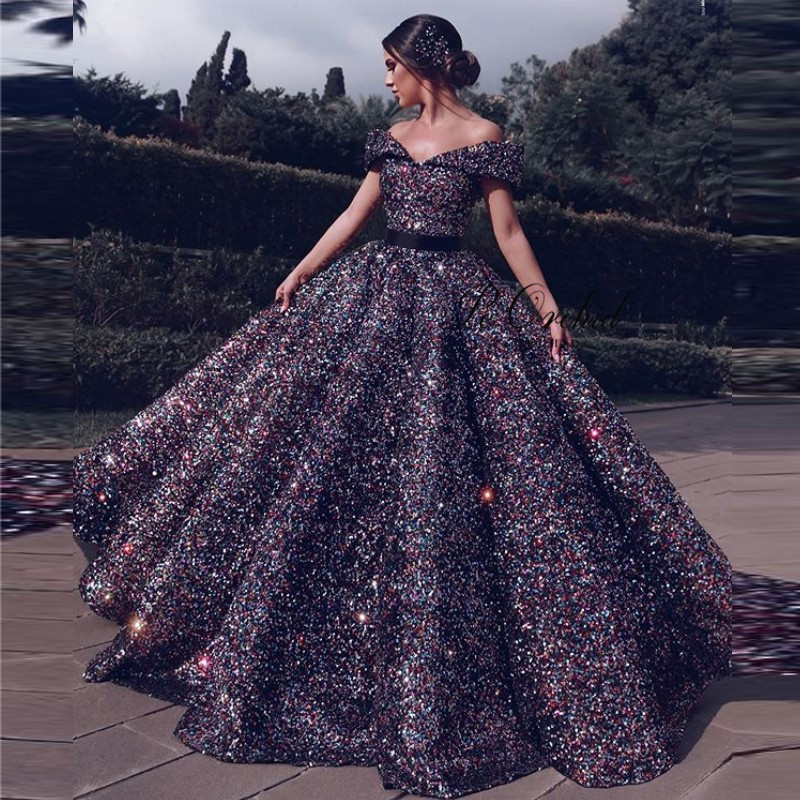 PEORCHID Robe Dubai Soiree Colorful Sequin   Evening     Dresses   Long Luxury Off Shoulder Vestido formal Princess Prom Gowns 0192