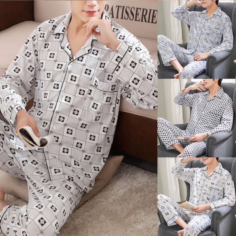 SHUJIN Men Pyjama Set Cotton Spring Long Sleeve Plaid Men Pajama Suit Spring Nightwear Pijama Male Sleepwear Two Piece XXXL