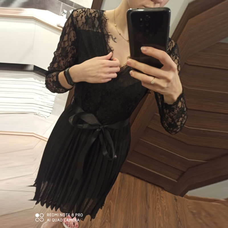 BEFORW Sexy VNeck Women Lace Dress Casual Party Pleated Chiffon Dresses 2019 Elegant Fresh Black Ribbon Hollow Chiffon Midi Dres 3