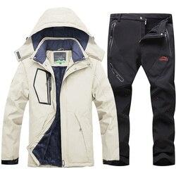 Зимний лыжный костюм для мужчин, ветрозащитная Водонепроницаемая Теплая Лыжная куртка и штаны, зимняя одежда для катания на лыжах и сноубор...