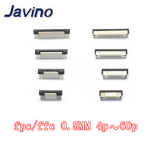 Soquete de tomada ffc fpc de 0.5mm 4/6/7/8/9/10/12, 10 peças/14/15/16/20/22/24/26/28/30/34 conector de fita tipo vertical,/40/45/50/54/60 pinos