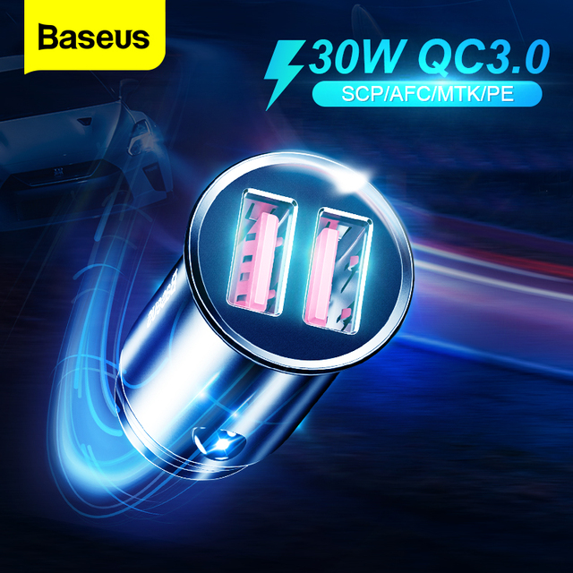 Baseus All Metal Quick Charge USB Car Charger For iPhone Xiaomi Huawei QC4.0 QC3.0 Auto Type C PD Fast Car Mobile Phone Charger