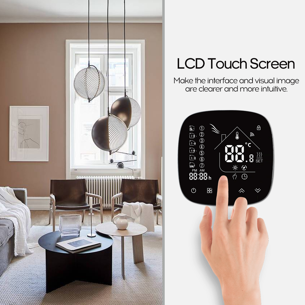 Smart Wifi Thermostat With Touchscreen LCD Display Programmable Thermostat Temperature Controller For Water/Boiler Heating