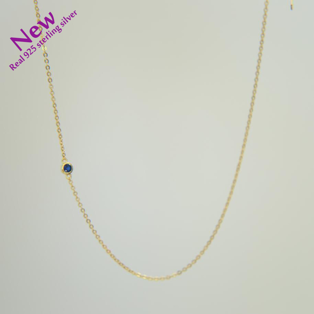 2020 summer style gold color necklace single charm CZ 100% 925 sterling silver gold choker necklace women elegant simple jewelry