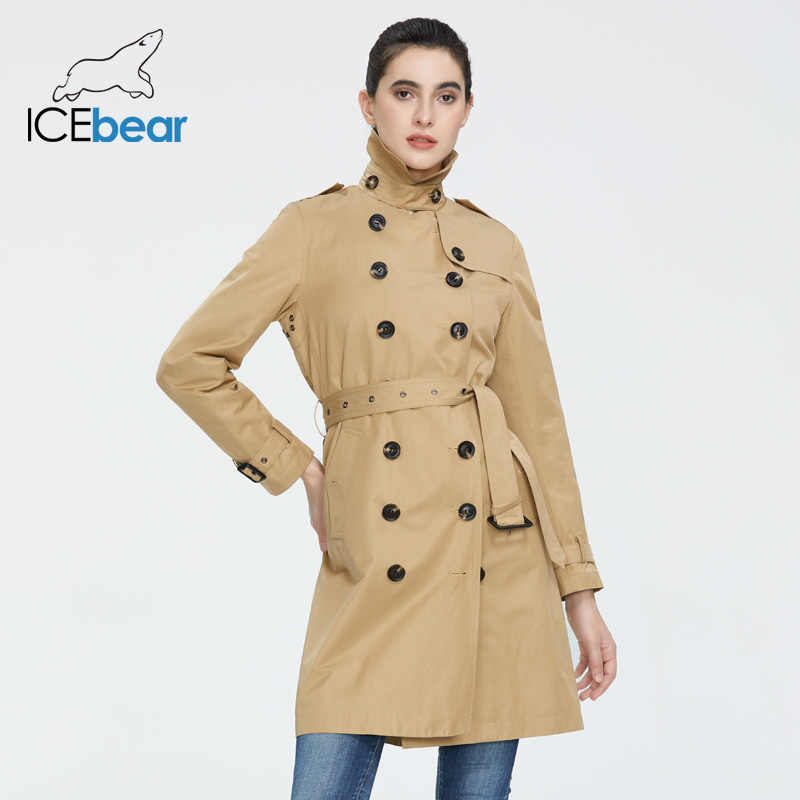ICEbear 2020 여성 봄 옷깃 윈드 브레이커 패션 더블 브레스트 여성 트렌치 코트 품질 여성 의류 GWF20023D