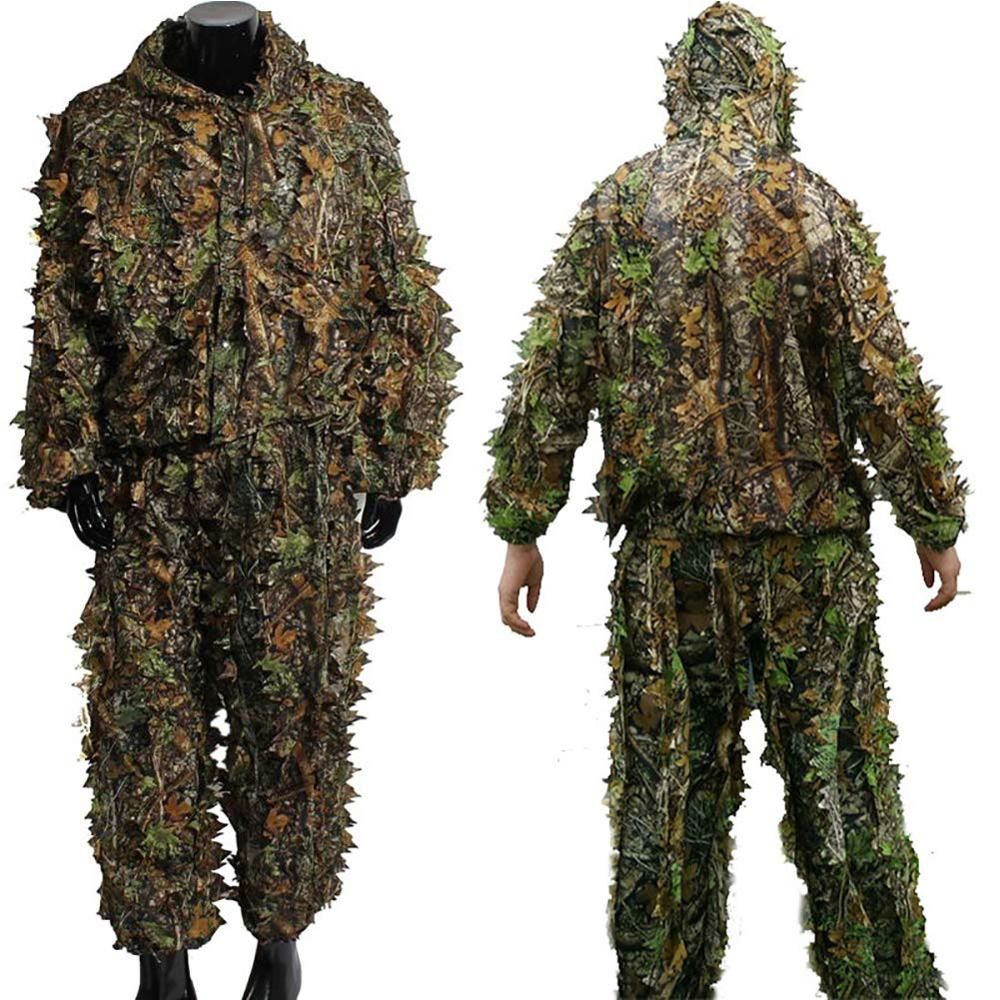 3D Foglia di Caccia Giubbotti Vestito di Pantaloni Camouflage Abbigliamento Outdoor Stalking in Caccia Bird Watching Gioco di Tiro