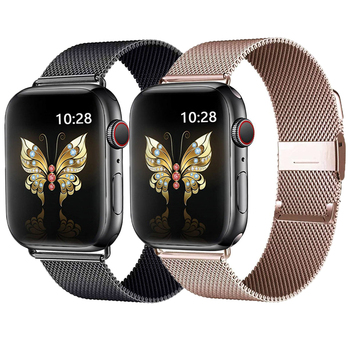 Milanese loop band For apple watch 5 44mm 40mm correa iwatch strap 38/42mm stainless steel watchband bracelet for series 5 4 3 2 stainless steel band for apple watch strap milanese loop 42 mm 38 40mm 44mm wristband for iwatch bracelet link series 4 3 2 1