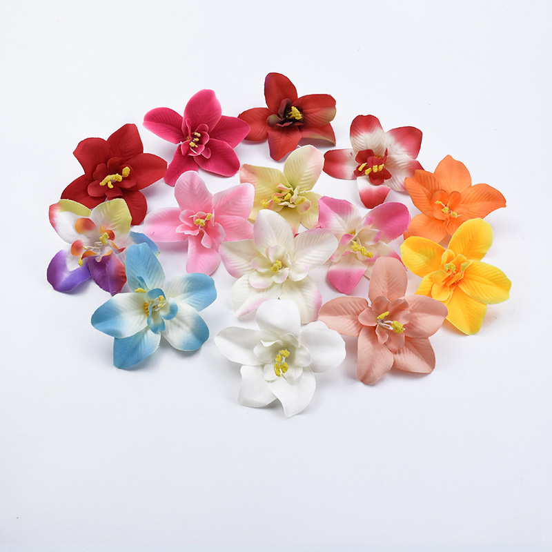 5/10/30 Pieces Silk Butterfly orchid christmas decorative flowers wreaths bride brooch artificial flowers for home decoration
