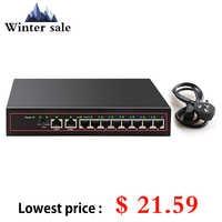 Commutateur Ethernet POE 10 ports 48V VLAN 10/100Mbps IEEE 802.3af/at commutateur réseau pour caméra IP CCTV sans fil AP 250M livraison directe