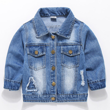 Baby Boys Jeans Jacket Spring Autumn Hole Denim Jacket For Baby Girls Jacket Coat Kids Outerwear Children Clothes 2 3 6 7 8 Year cheap Fashion COTTON Polyester Solid REGULAR Turn-down Collar Outerwear Coats Full Fits true to size take your normal size