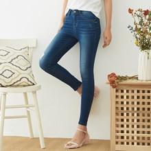 Metersbonwe, узкие джинсы для женщин, джинсы с дырками, женские синие джинсовые узкие брюки, высокое качество, женские джинсы с эластичной талией