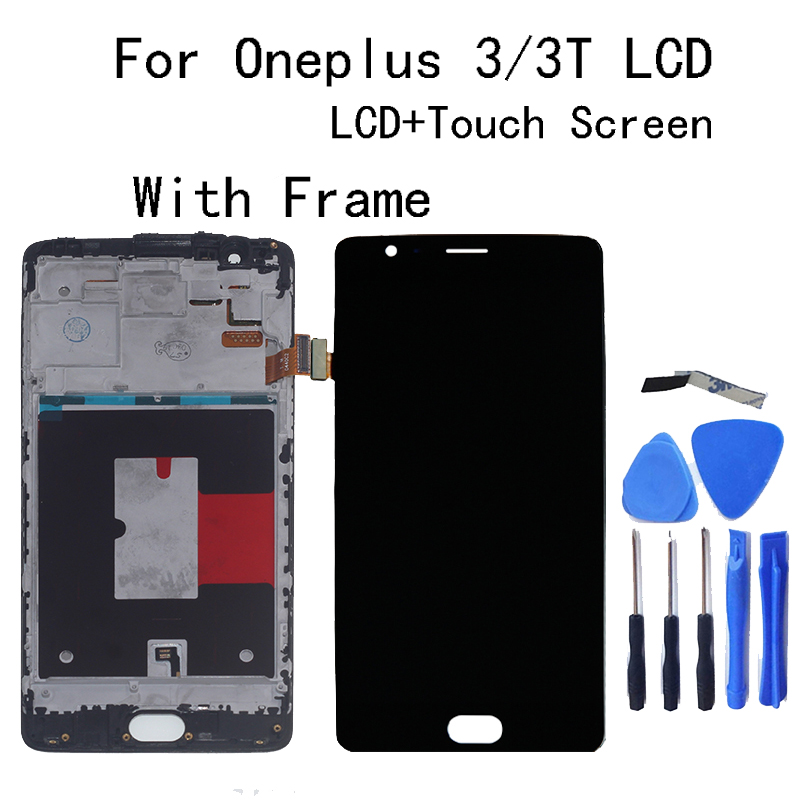 """5.5"""" AMOLED For Oneplus 3 3T LCD display + Touch screen sensor assembly replacement A3010 A3000 A3003 mobile phone repair parts-in Mobile Phone LCD Screens from Cellphones & Telecommunications"""