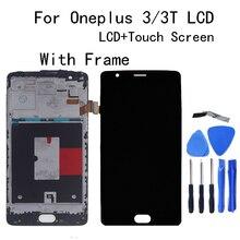 """5.5 """"AMOLED ل Oneplus 3/3T شاشة الكريستال السائل + شاشة تعمل باللمس الاستشعار الجمعية استبدال A3010 A3000 A3003 المحمول الهاتف إصلاح أجزاء"""