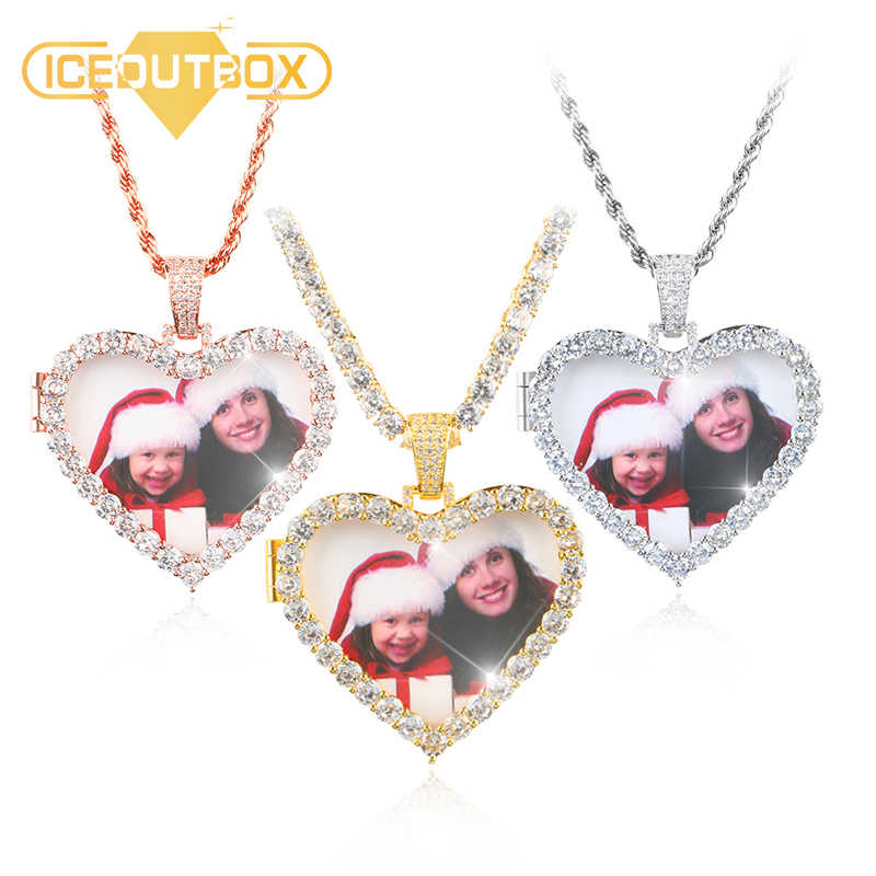 Custom Made Photo Crystal Heart Medallions Pendant Necklace Gold Silver Cubic Zircon Men's Hip Hop Jewelry With 4mm Tennis Chain