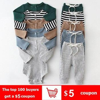 Conjunto de ropa para niño pequeño, monos de algodón a rayas de manga larga para bebé y pantalón informal, trajes para niño pequeño