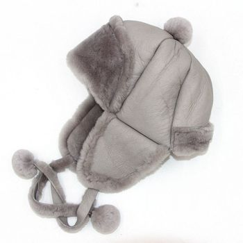 Children's autumn and winter real sheep fur integrated ear protection hat boys and girls go out  thicken warm Plush Snow cap