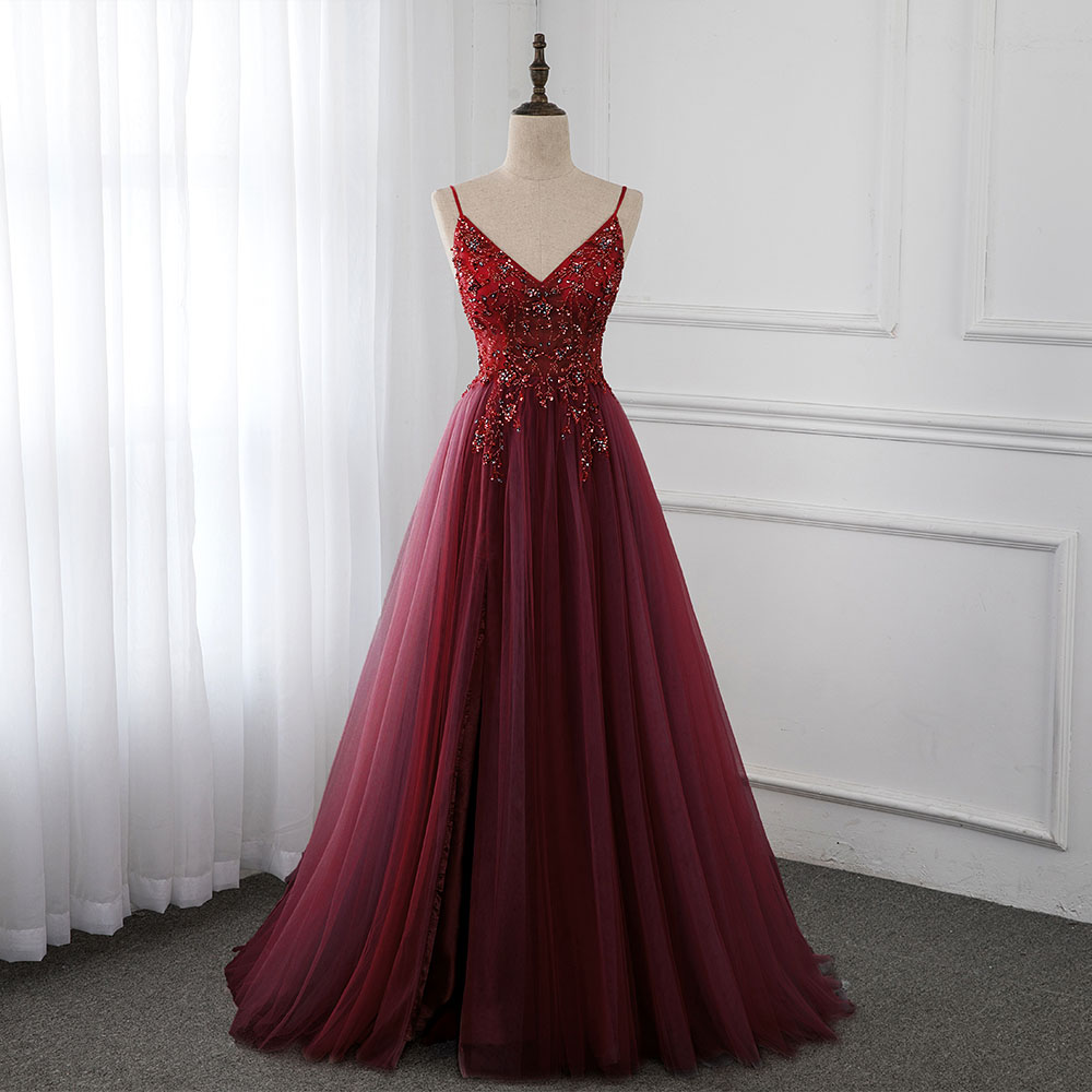 Sweet Wine Red Crystal Long   Prom     Dresses   2020 Straps Spaghetti Tulle Evening Gown Slit Right YQLNNE