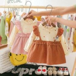 Bonito do bebê vestidos bonito dos miúdos recém-nascidos infantil da criança meninas roupas de manga longa o-pescoço algodão faixas dot vestido roupas da menina vestido