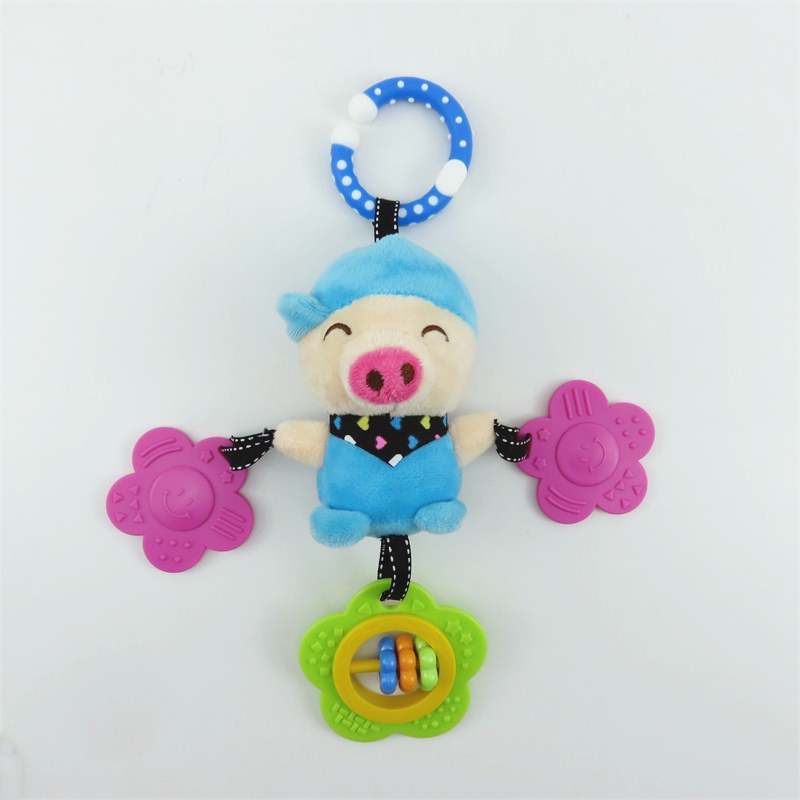 Cartoon Pig Cat Doraemon Plush Toys Baby Rattle Hand Bell Baby Stroller Crib Hanging Rattles Christmas Birthday Gifts