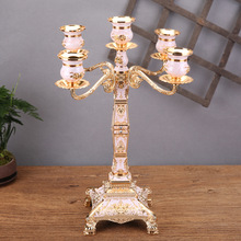 Square Candlestick Decoration Glass Retro European-Style Home Metal Lamp Luxury Wedding