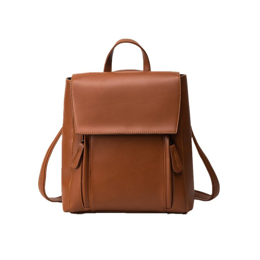 Vintage PU Leather Women Backpack Simple College Style Backpack For Teenager Girls Designer Fashion Women Shoulder Bags