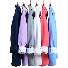 Aoliwen men Oxford Textile cotton Wool fleece lining Plus velvet thickening shirts winter for soft fit dress shirt