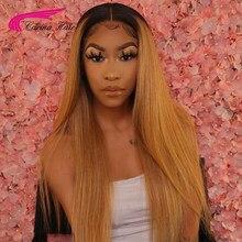 Прямые медовые светлые волосы 13x6, парики из человеческих волос на сетке спереди, 180% бразильские волосы без повреждений, на сетке спереди, Ис...