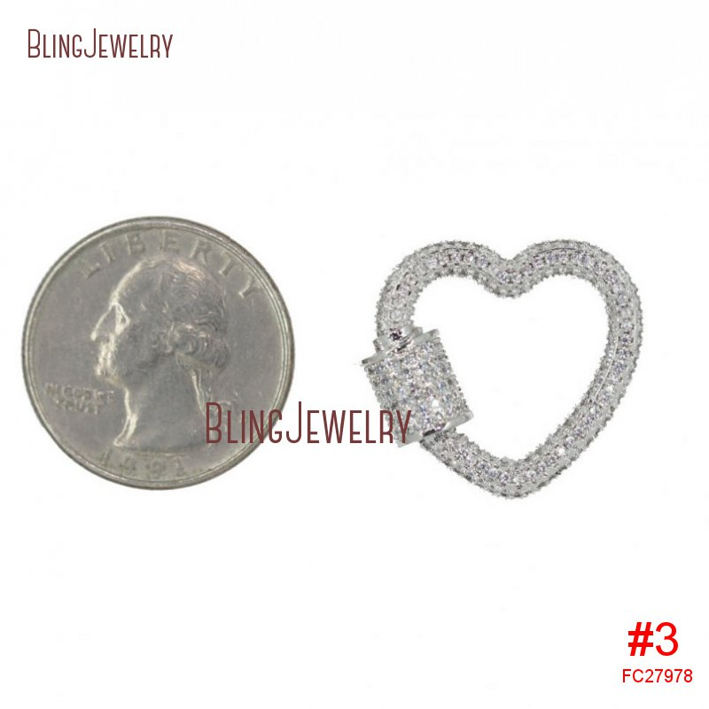 Rose Gold Silver Gunmetal Heart Clasp CZ Micro Pave Screw Clasp Lock Carabiner Pave Lock 23x22mm FC27975
