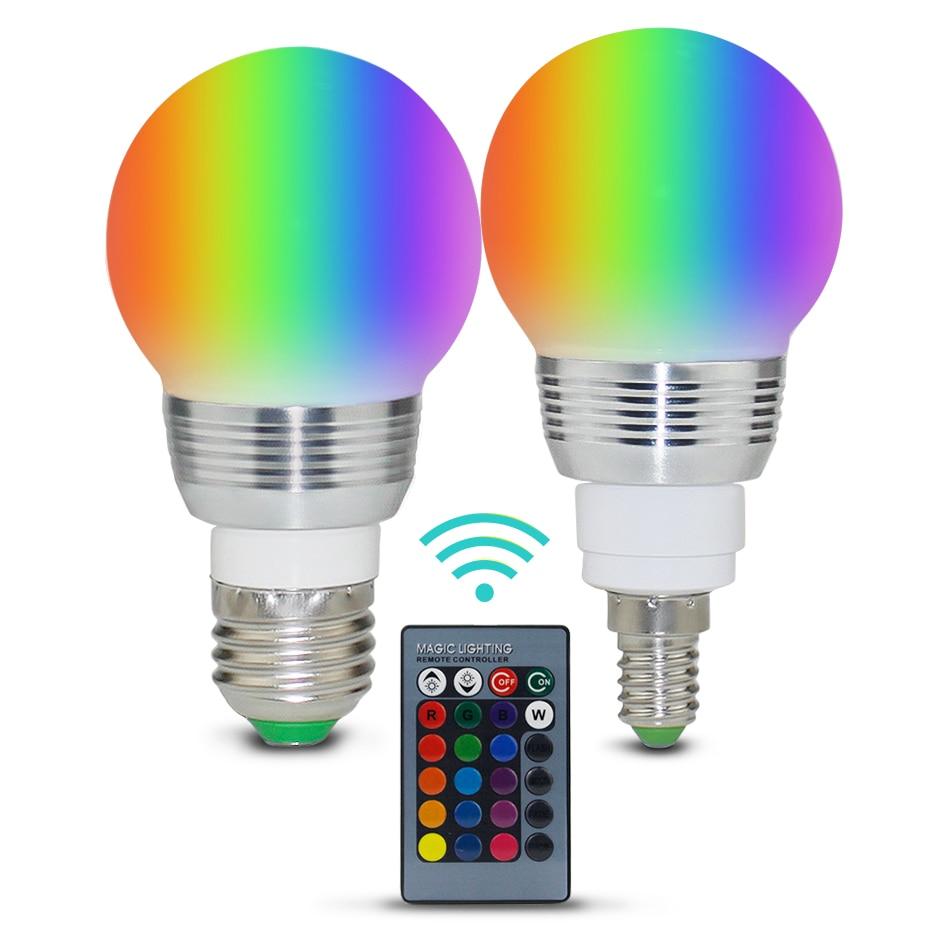 E27 E14 RGB Led Bulb 3W 5W 10W 15W Dimmable 16 Color Changing Magic Bulb Gu10  AC 220V 110V RGB White IR Remote  Night Light C3
