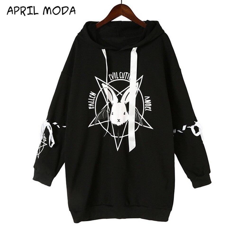 Novas mulheres gótico camisola vestido coelho impressões estilo punk hoodies 2020 outono inverno moda camisolas oversize
