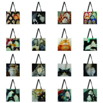 Colorful cat tote bag shoulder bag linen fabric casual tote bag foldable shopping bag reusable beach bag tow tone chevron tote bag