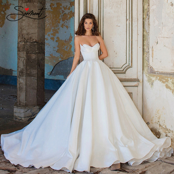 BAZIIINGAAA  Luxury Wedding Dress Simple Organza Satin White Strapless Wedding Dress Sleeveless Backless Support Tailor-made white backless design halter sleeveless dress