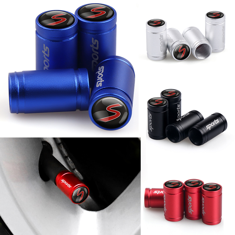 4Pcs Car Wheel Tire Valve Stem Air Caps S Emblem For Mini Cooper S R55 R56 R57 R58 R59 R60 R61 F54 F55 F56 F60 Accessories