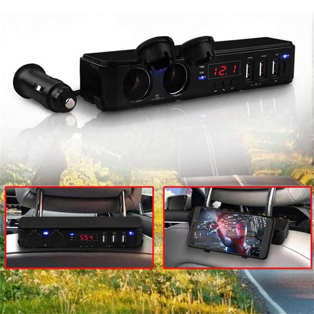 新オートカー電圧温度時間 LED ディスプレイユニバーサルハイパワー 3 USB 5 V/3A 高速充電ソケットシガーライターソケット