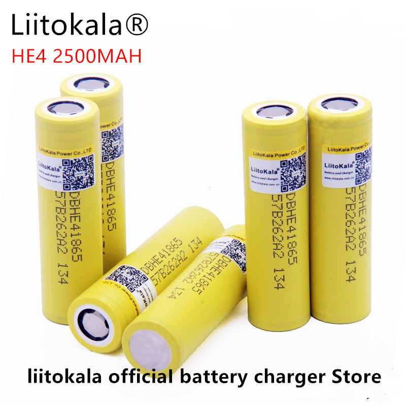 Liitokala for LG HE4 <font><b>18650</b></font> rechargeable Li ion battery is 3.6 V 2500 MAH battery can maintain, Max 20a, 35A and cigarette unload image