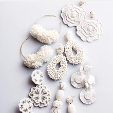 Fashion White Beaded Drop Earrings Women 2019 Simulated Pearl Flower  Wedding Jewelry Temperament Statement Luxurious New Gift