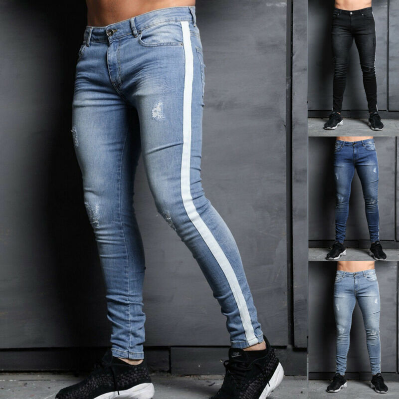 Goocheer Men Skinny Jeans Pant Casual Trousers 2019 Denim Black Jeans Homme Stretch Side Striped Pencil Pants Fit Streetwear 3XL