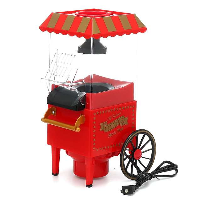 110V 1200W Mini Electric Popcorn Maker Home Hot Air Tabletop Popcorn Makers Party Snack Machine Household Kitchen Appliance Appliances