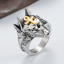 Винтажное кольцо anubis god из титановой стали с изображением